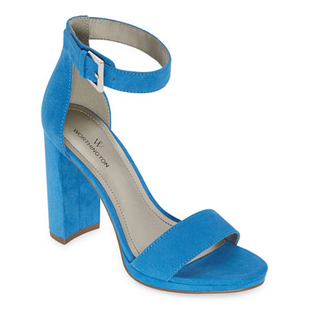 Worthington Womens Lafayette Heeled Sandals, 6 1/2 Medium, Blue