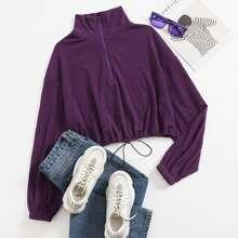 Strick Pullover mit Kragen, Reissverschluss und Kordelzug am Saum