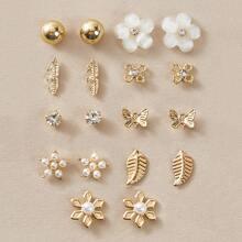 9pairs Butterfly & Flower Decor Earrings