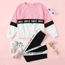 Pullover mit Buchstaben Grafik und Farbblock & Hose mit Kontrast und seitlicher Naht Set