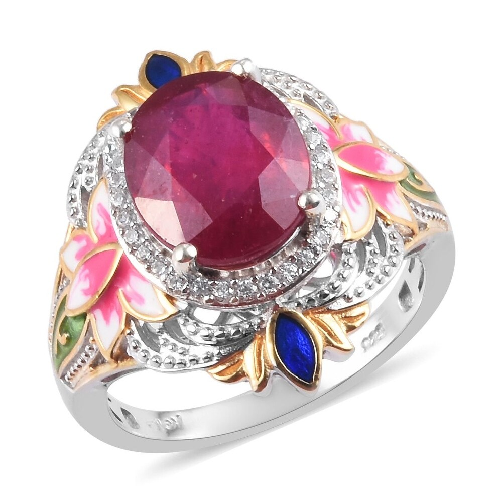 Platinum Over Sterling Silver Ruby Zircon Ring Ct 7 (Ring 8)