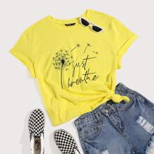 Plus Dandelion And Letter Print Tee