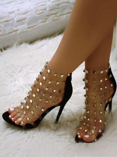 Milanoo Black Gladiator Sandals PVC Upper Round Toe Rivets Sandals