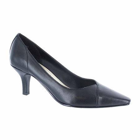 Easy Street Womens Chiffon Pumps Spike Heel, 8 1/2 Wide, Black