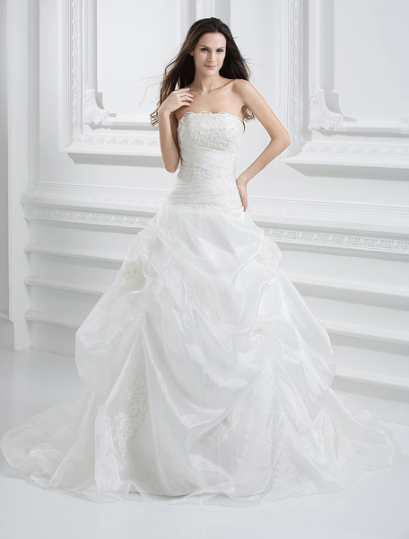 Milanoo Euro Style Ball Gown Strapless Applique Beading Organza Wedding Dress