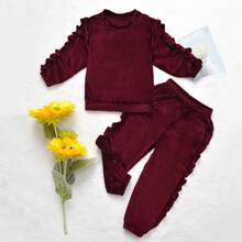 Bordeaux Rueschen Einfarbig Laessig Kleinkind Maedchen zweiteilige Outfits