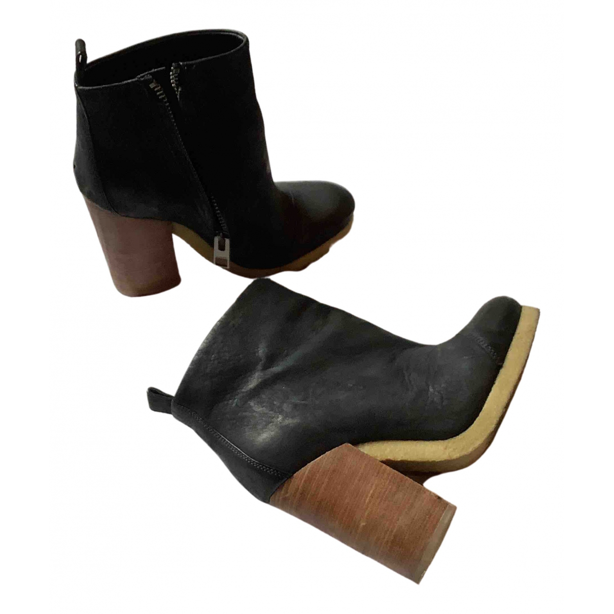 All Saints \N Black Leather Ankle boots for Women 37 EU