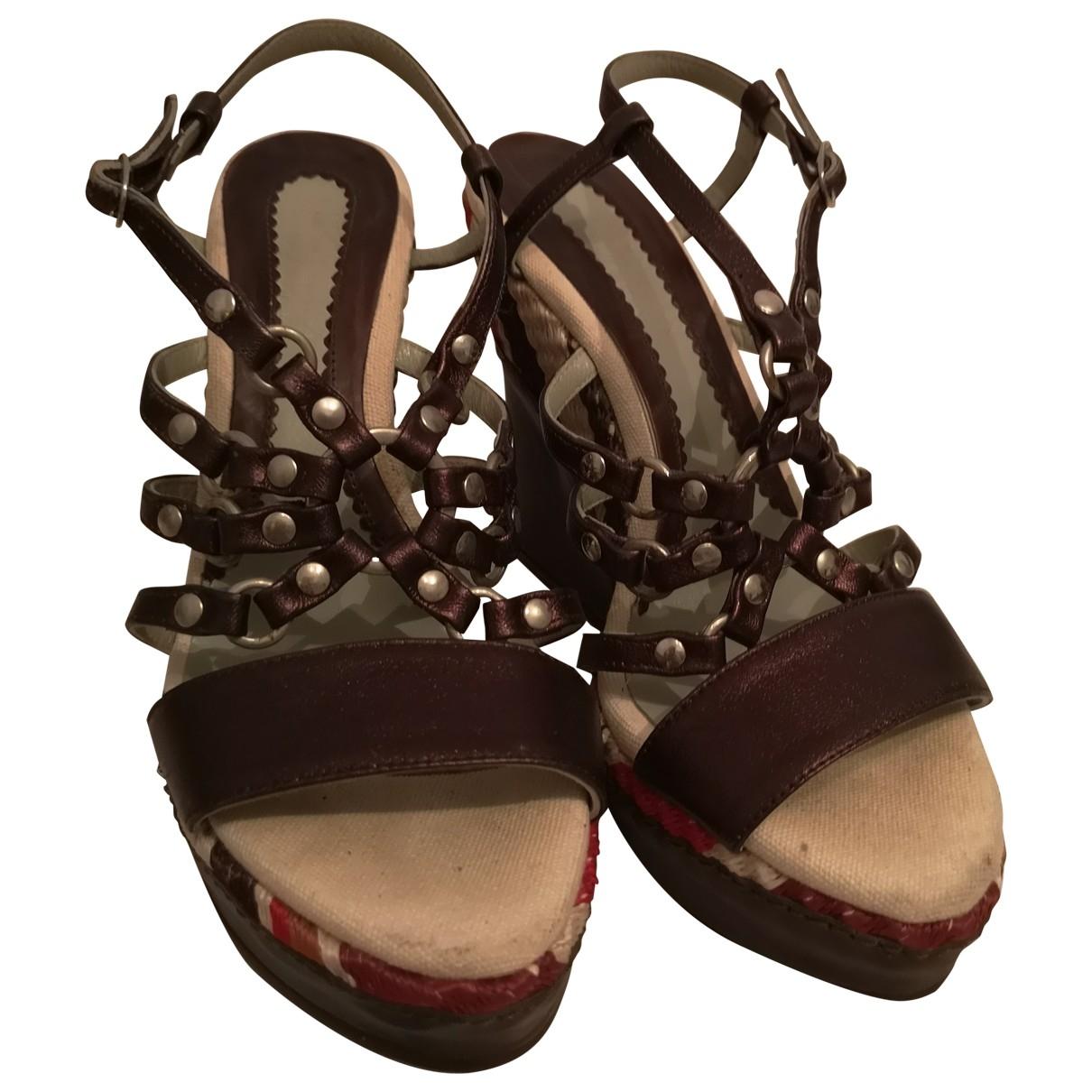 Sport Max - Sandales   pour femme en cuir - marron