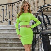 Sesidy vestido con abertura neon
