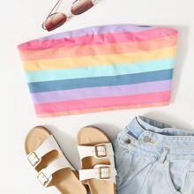 Plus Rainbow Striped Bandeau Top