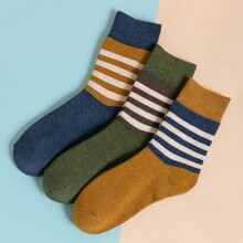 3pairs Men Striped Crew Socks