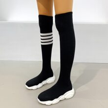 Striped Over The Knee Sock Boots