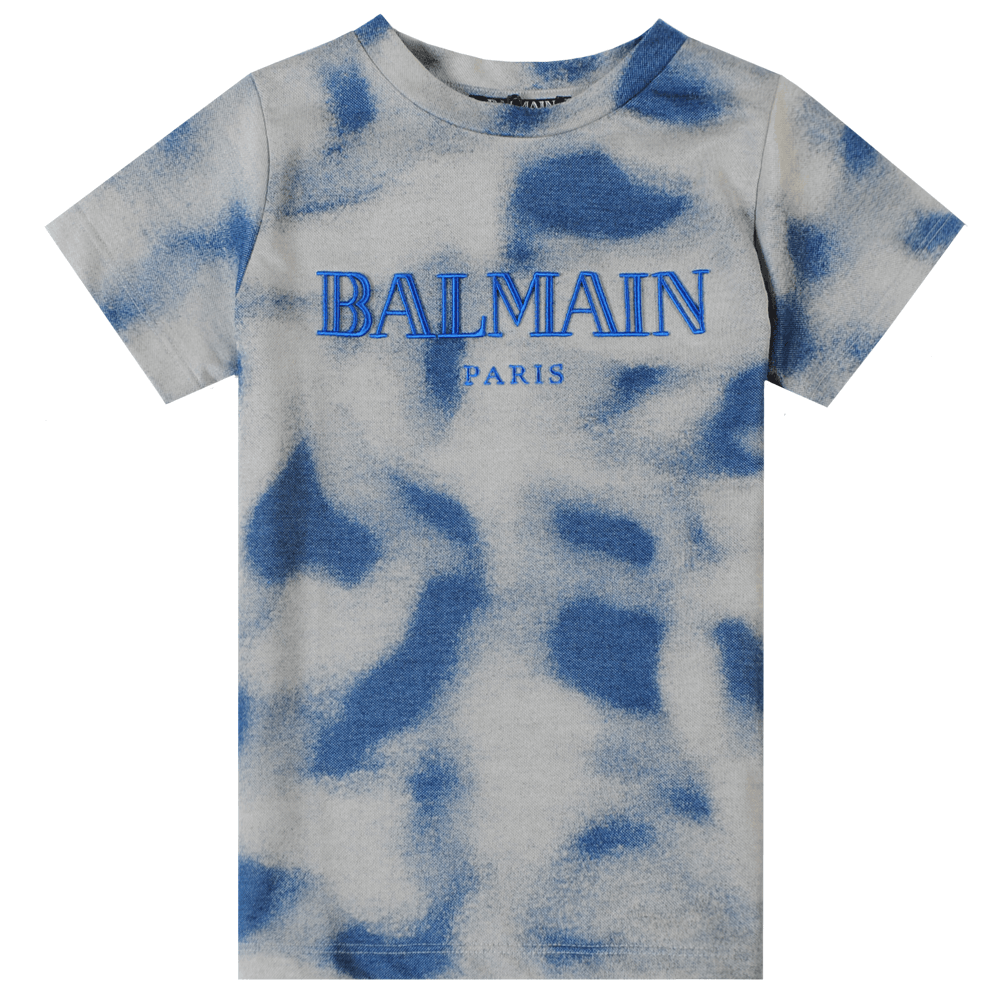 Balmain Paris Kids Camo T-Shirt Colour: BLUE, Size: 10 YEARS