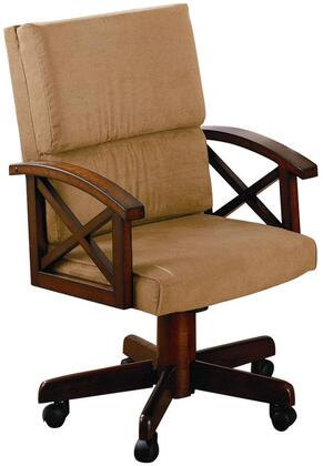 Marietta Collection 100172 23 Arm Game Chair with Wood Frame  Casters  Split Back Cushion and Tan Fabric Upholstery in Rustic Tobacco
