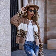 Colorblock Cheetah Print Zip Up Teddy Jacket
