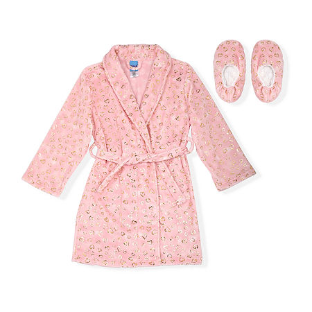 Sleep On It Big Girls Microfleece Long Sleeve Knee Length Robe, Medium (10-12) , Pink