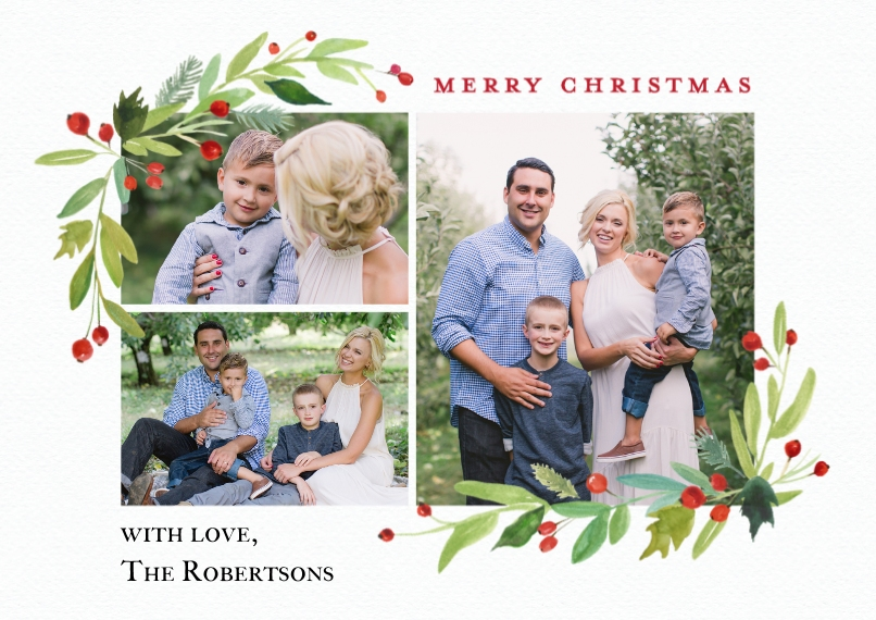 Christmas Photo Cards 5x7 Cards, Premium Cardstock 120lb with Scalloped Corners, Card & Stationery -Christmas Red Berries Watercolor by Tumbalina