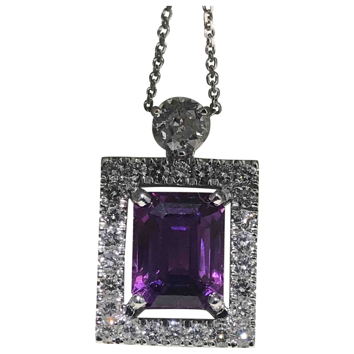 Non Signé / Unsigned Saphir Purple White gold necklace for Women \N