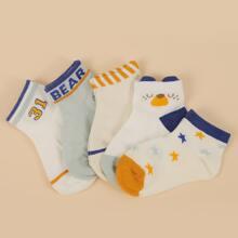 4 piezas calcetines con patron de letra y estrella