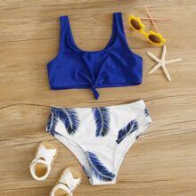 Bañador bikini de niñas con nudo delantero con estampado de palma