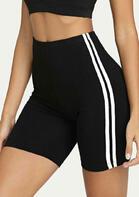 Striped Splicing Yoga Fitness Activewear Shorts - Black
