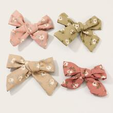4pcs Girls Ditsy Floral Pattern Hair Clip