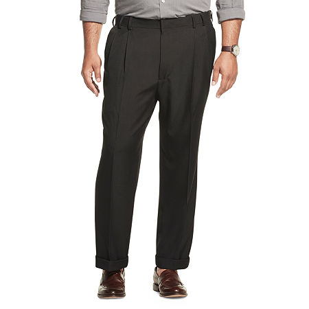 Men's Van Heusen No-Iron Extender Pleated Pants - Big & Tall, 42 36, Black