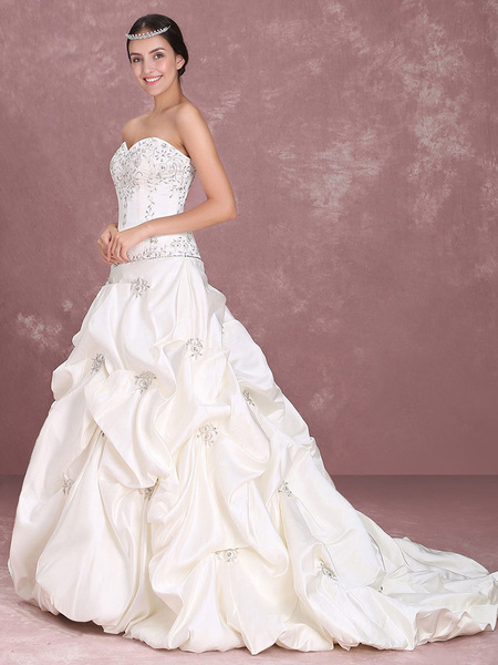 Milanoo Wedding Dresses Strapless Ball Gown Bridal Dress Satin Ruched Embroidered Sweetheart Beaded Dropped Waist Wedding Gown
