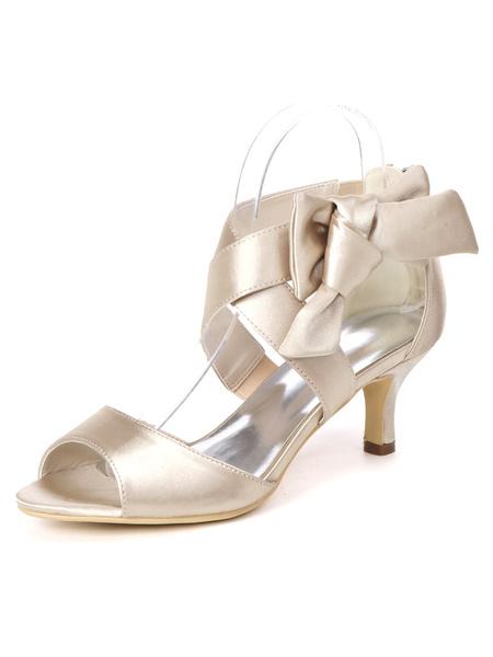 Milanoo Ivory Wedding Shoes Satin Open Toe Bows Kitten Heel 2.4 Bridal Shoes