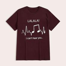 Maenner T-Shirt mit Buchstaben Grafik und rundem Kragen