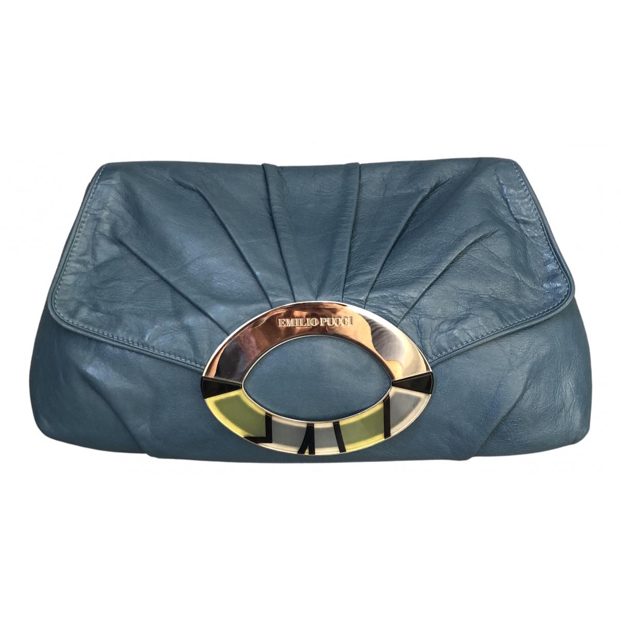 Emilio Pucci - Pochette   pour femme en cuir - bleu
