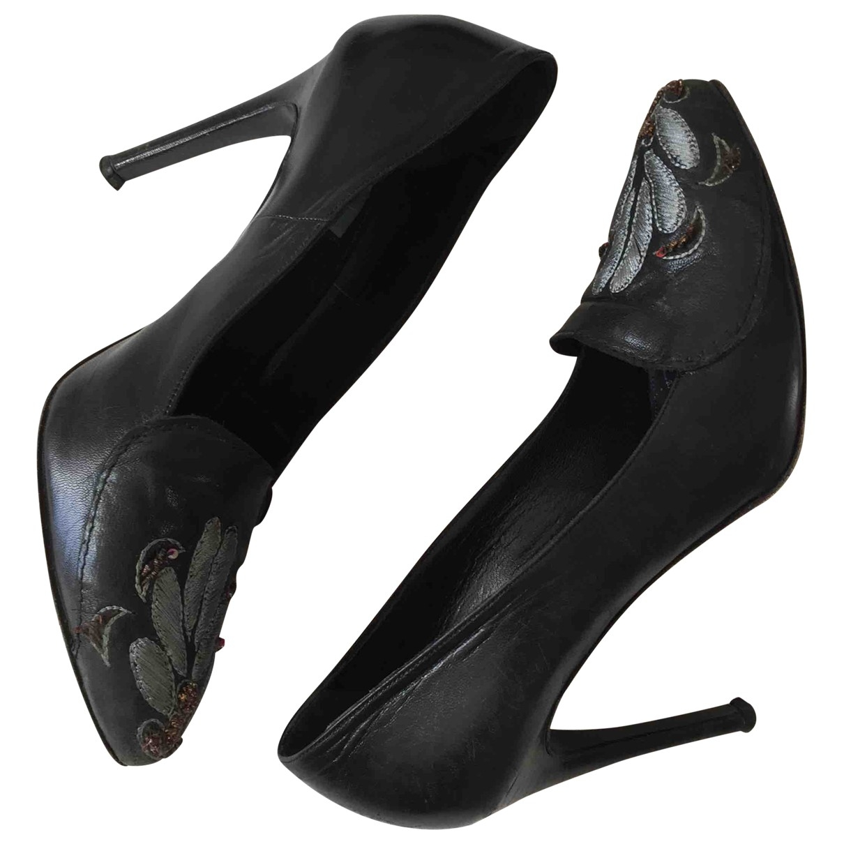 Non Signé / Unsigned \N Black Leather Heels for Women 38.5 IT