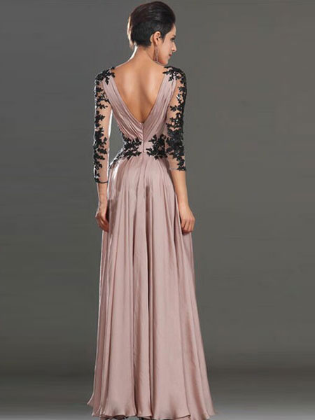 Milanoo Pink Maxi Dress Chiffon Illusion Long Wrap Sleeve V Neck Prom Dress For Women
