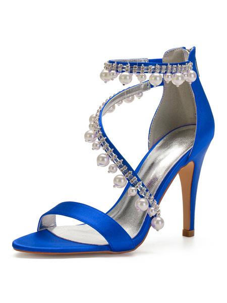 Milanoo Wedding Guest Shoes Satin Deep Blue Open Toe Rhinestones Bridal Shoes