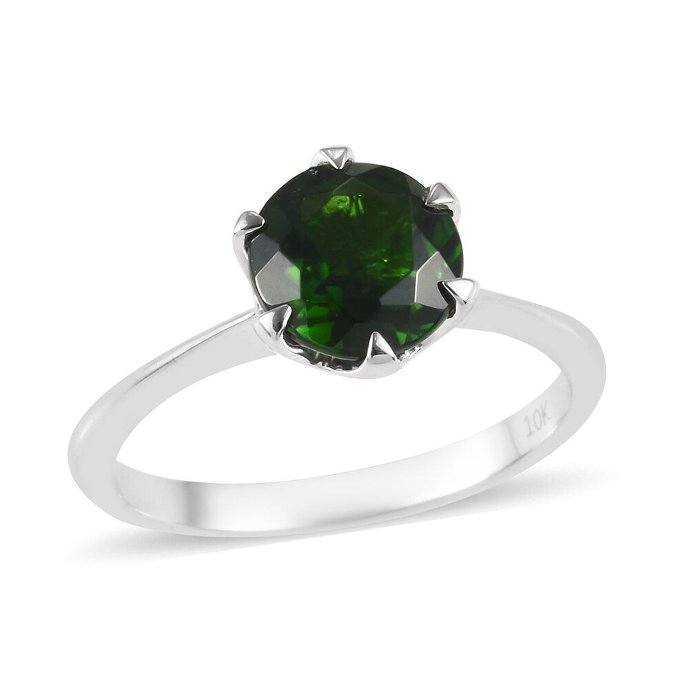White Gold AA Chrome Diopside Solitaire Ring Ct 2 (Ring 8)