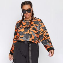 Crop Pullover mit sehr tief angesetzter Schulterpartie und Camo Muster