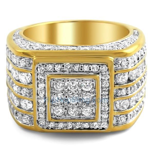 Godfather Gold Custom CZ Bling Bling Ring