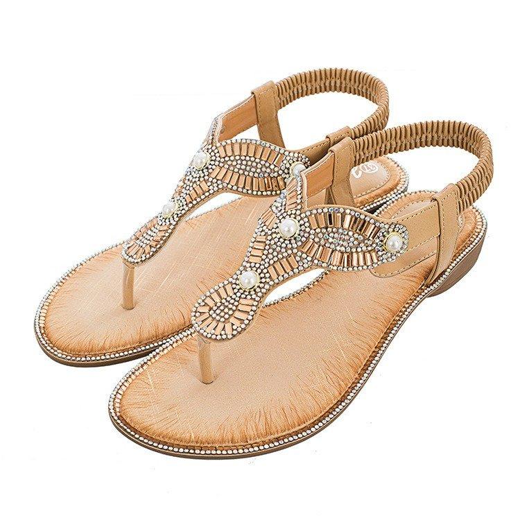 Rhinestone Bohemian Elastic Band Clip Toe Flat Sandals