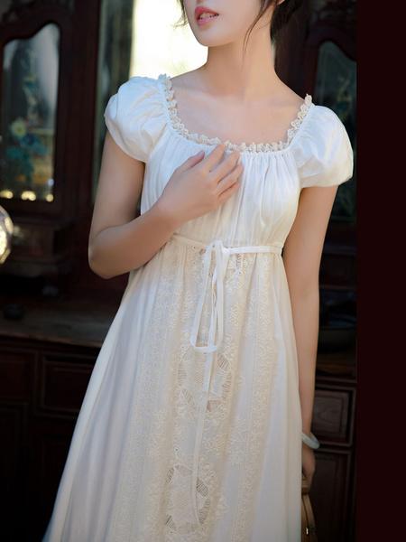 Milanoo Disfraz Halloween Vestido Blanco De Regencia Encaje De Seda De Algodon Corte De Imperio 1790S Vestido Bordado De Jane Austen Para Mujer Hallow