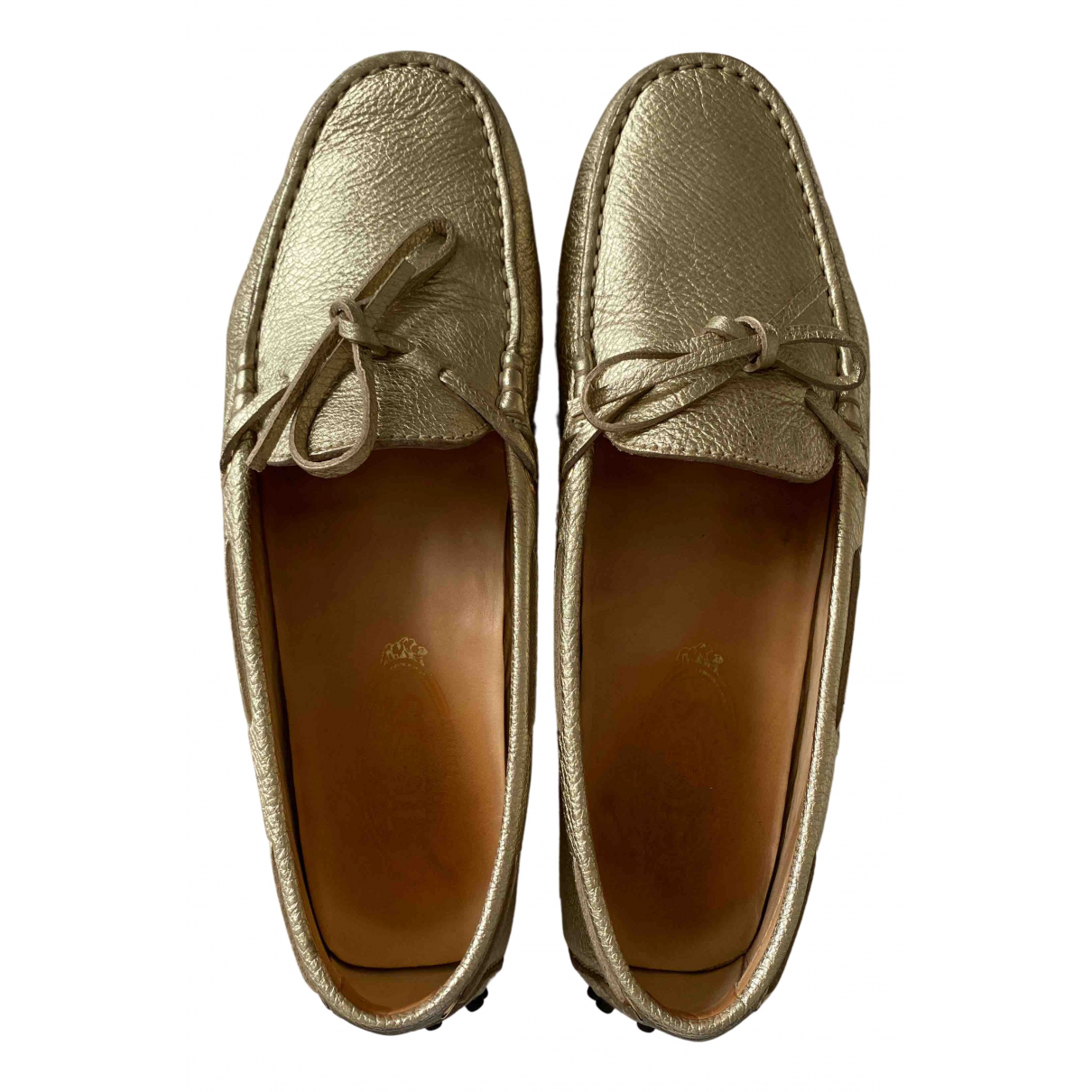 Tod's Gommino Gold Leather Flats for Women 38.5 EU