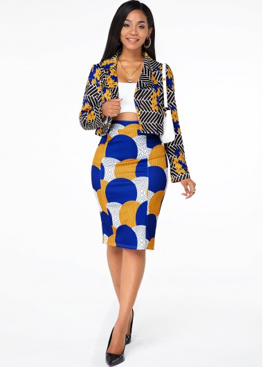 Cocktail Party Dress Printed Open Front Long Sleeve Top and Skirt - S
