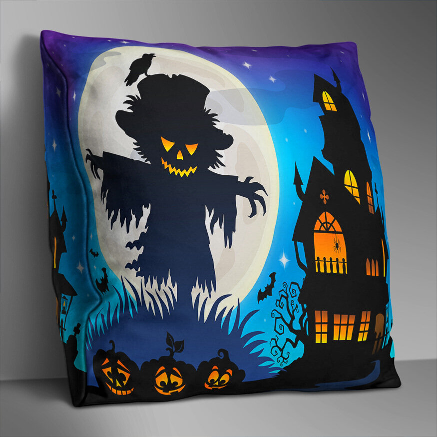 Double-sided Printed Halloween Black Friday Cushion Cover Home Sofa Soft Throw Pillowcase Art Decor