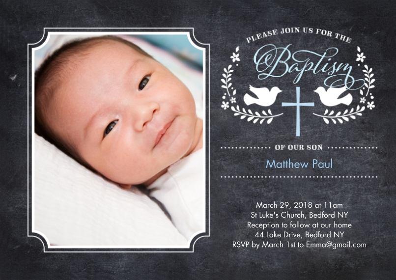 Christening + Baptism 5x7 Cards, Premium Cardstock 120lb, Card & Stationery -Baptism Doves with Cross