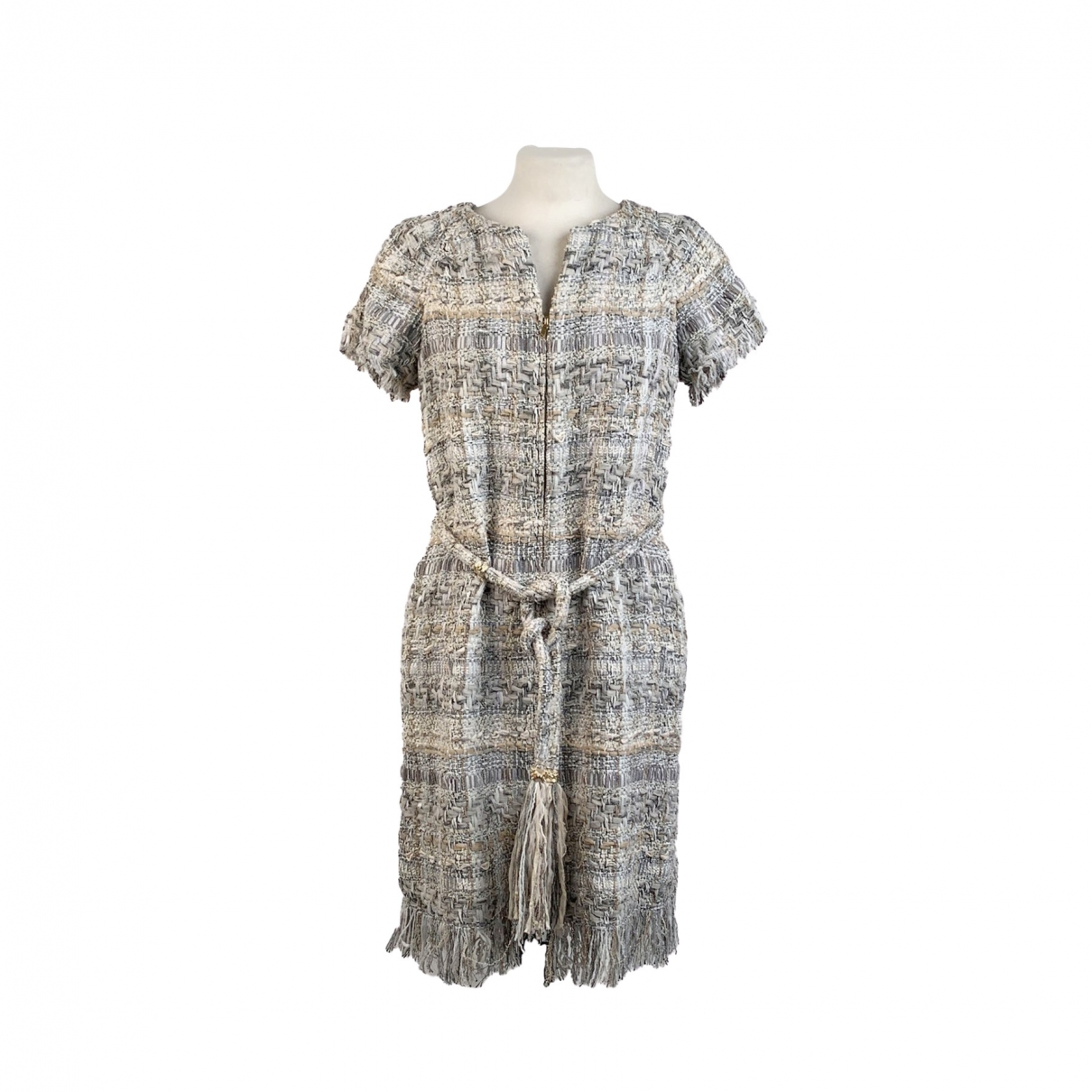 Chanel \N Kleid in  Grau Baumwolle - Elasthan