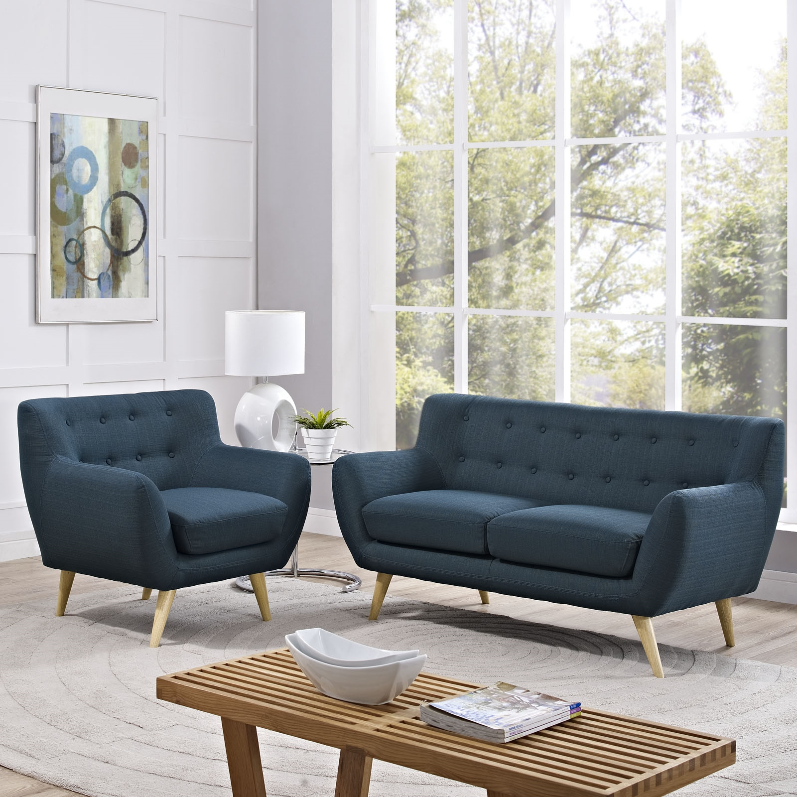 Remark 2 Piece Living Room Set in Azure