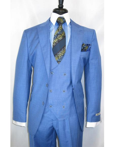 Men's Modern Fit 2 Button Single Breasted Plaid Blue Side Vents Suit