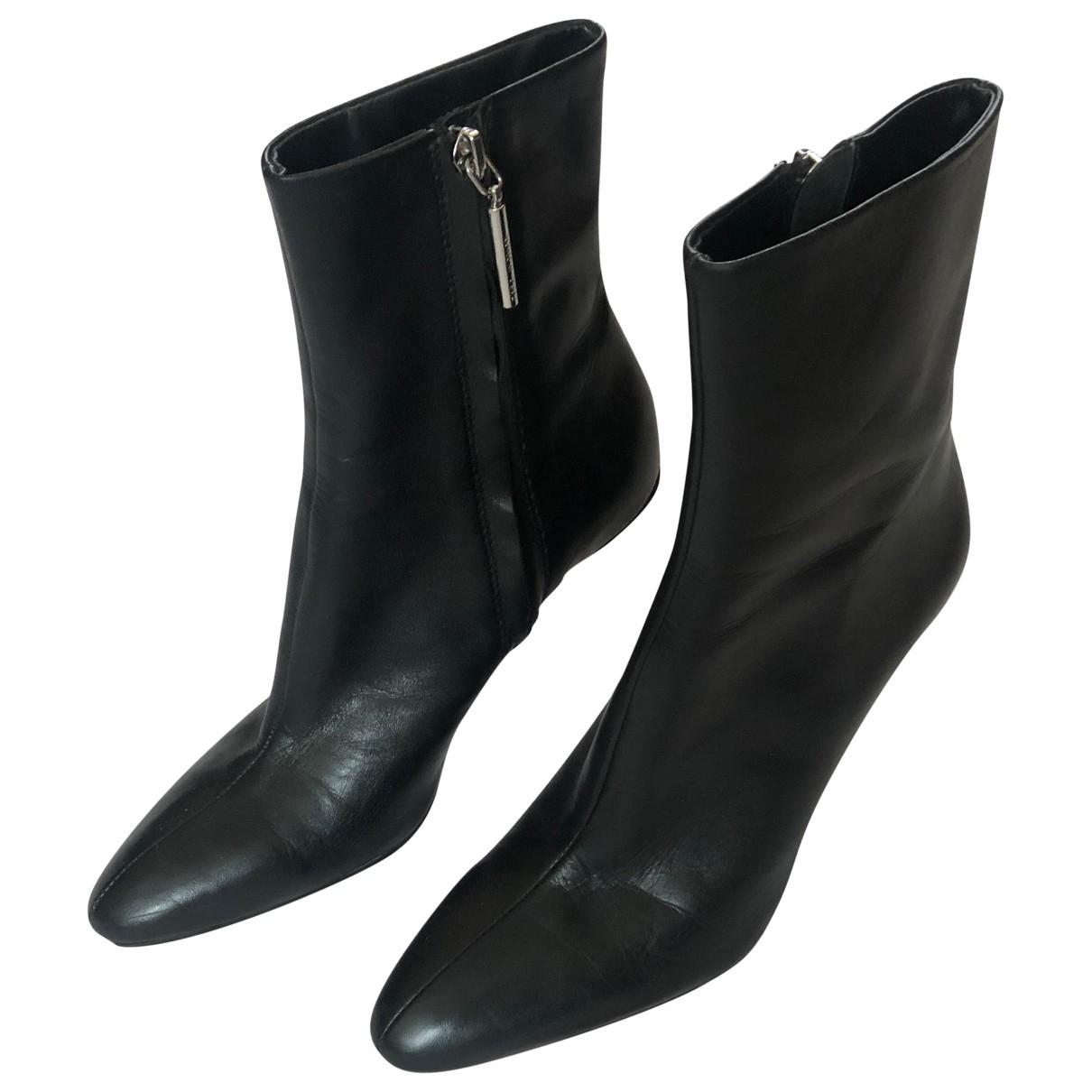 Zara \N Black Leather Boots for Women 36 EU