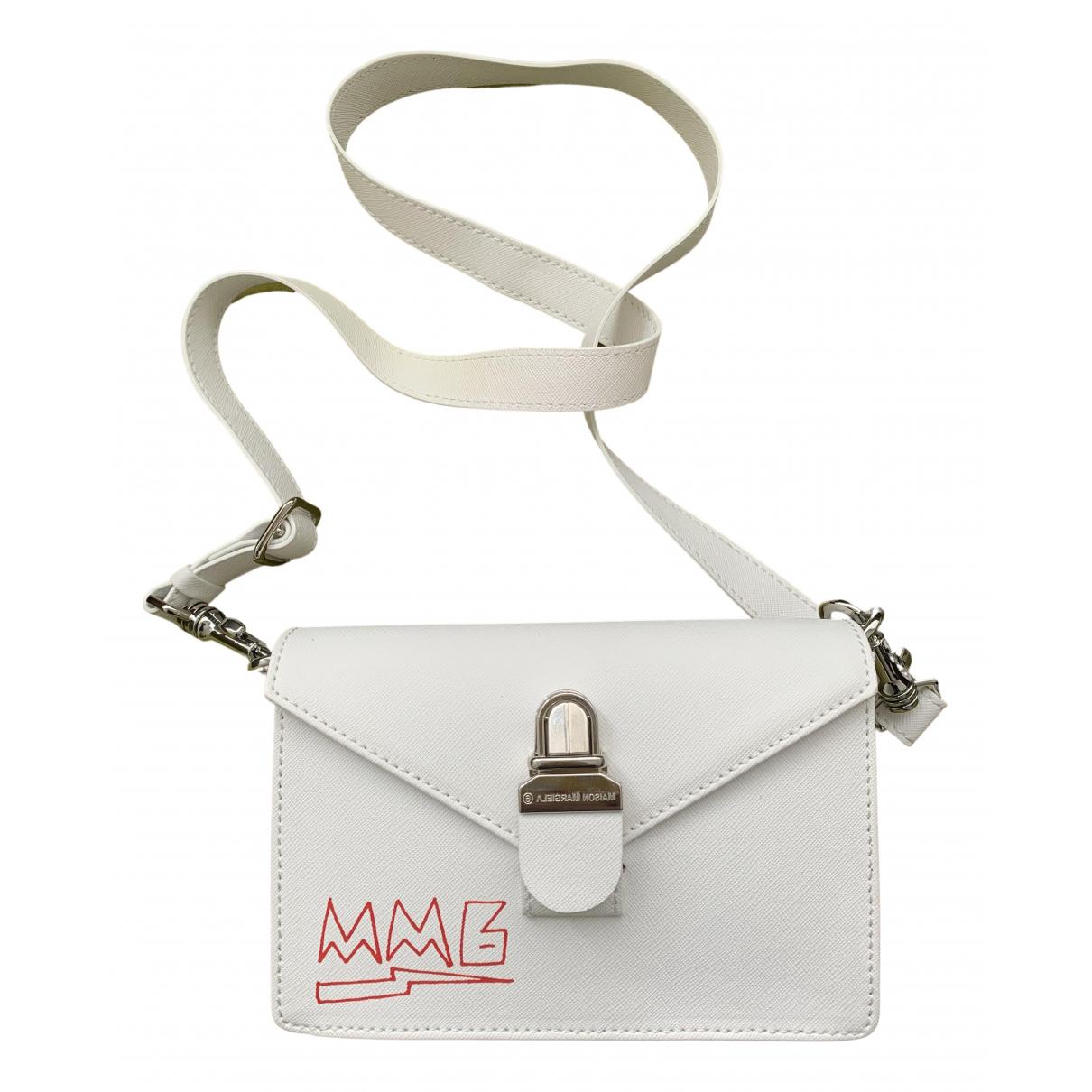 Mm6 - Sac a main   pour femme en cuir - blanc