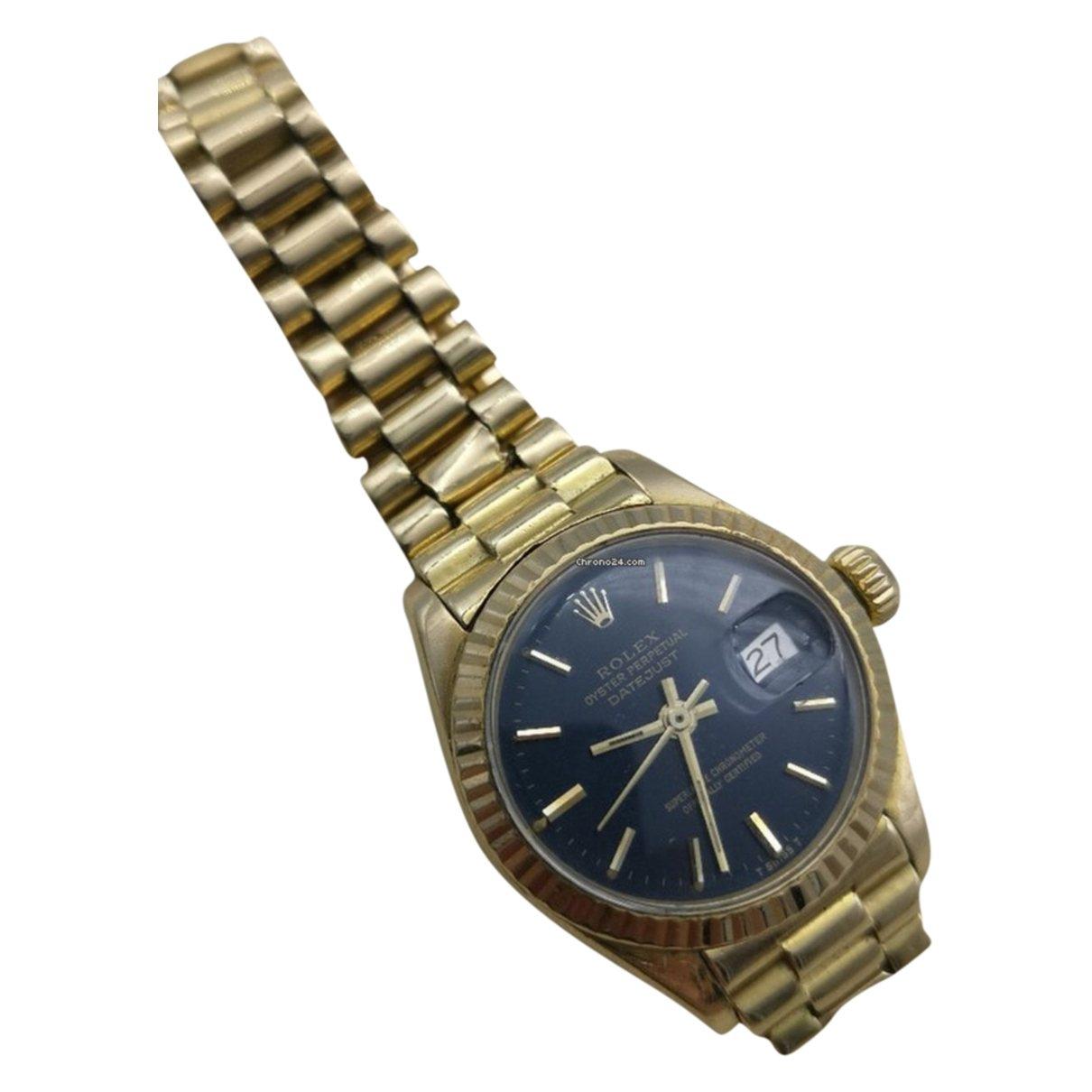 Rolex - Montre Lady DateJust 26mm pour femme en or jaune - dore