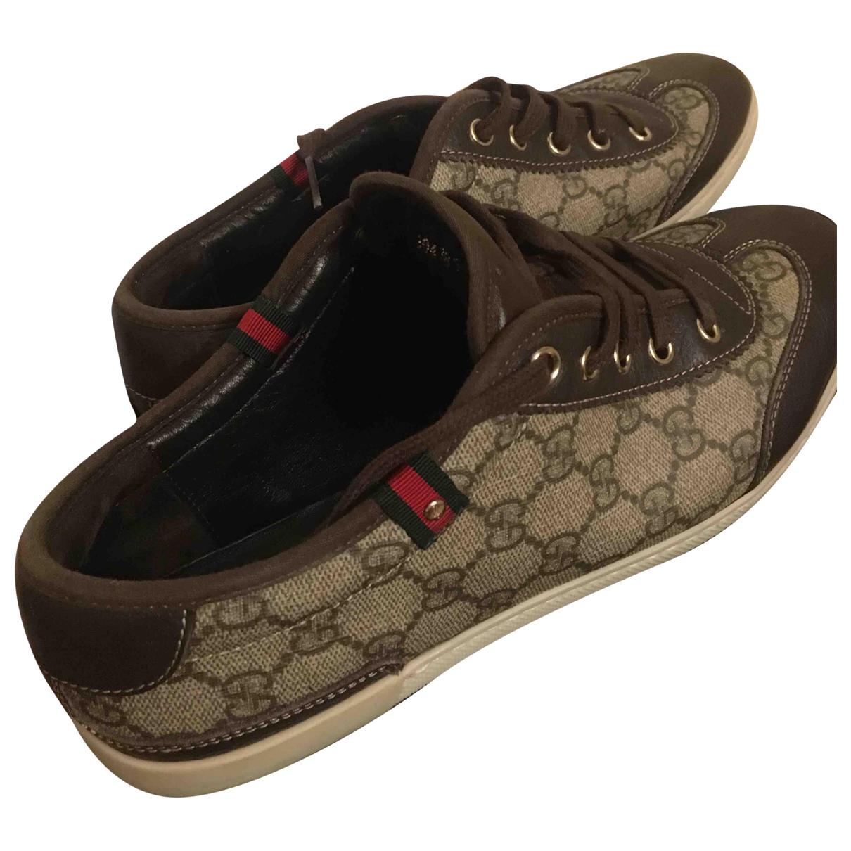 Gucci - Baskets   pour homme en toile - marron